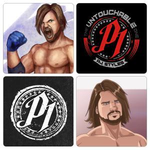Pack of 4 AJ Style Artistic Wrestling Tea Coaster