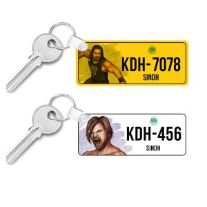 Pack of 2 Wrestlers  Car/Bike Number Plate Keychain